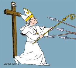 Hí họa biểu trưng người được trông chờ bảo vệ GHCG khỏi mọi sự dữ - by Rod Anderson, Christian Post's cartoonist