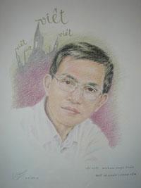 Bức tranh chân dung Ông Huỳnh Ngọc Tuấn của Họa sĩ Trần Lân. Courtesy Họa sĩ Trần Lân.