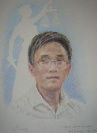 Bức tranh chân dung LS Huỳnh Văn Đông của Họa sĩ Trần Lân. Courtesy Họa sĩ Trần Lân.