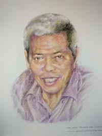 Bức tranh chân dung Ông Trương Văn Sương của Họa sĩ Trần Lân. Courtesy Họa sĩ Trần Lân.