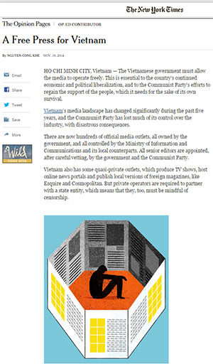Bài viết của ông Nguyễn Công Khế trên báo New York Times số đề ngày 19/11/2014.