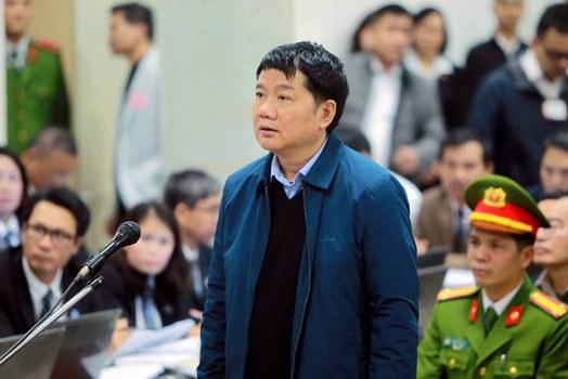 Ông Đinh La Thăng trước tòa ở Hà Nội hôm 8/1/2018.