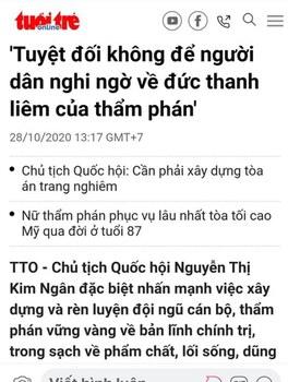 Bài báo của Tuổi Trẻ Online, ngày 28/20/2020, đăng tít lời phát biểu của Chủ tịch Quốc hội Nguyễn Thị Kim Ngân.