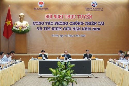 Ảnh minh họa. Quang cảnh Hội nghị trực tuyến toàn quốc về Công tác Phòng chống thiên tai  và Tìm kiếm cứu nạn năm 2019, do Thủ tướng Nguyễn Xuân Phúc chủ trì, diễn ra chiều ngày 15/5/2020.