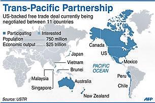 Sơ đồ các nước tham gia TPP (Hiệp định đối tác xuyên Thái Bình dương)