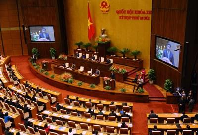 Chủ tịch Trung Quốc Tập Cận Bình phát biểu trước Quốc hội Việt Nam ở Hà Nội vào sáng ngày 6/11/2015. AFP PHOTO.