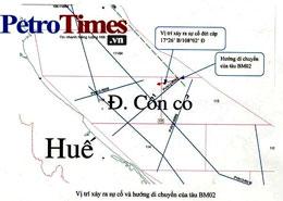 Vị trí xảy ra sự cố và hướng di chuyển của tàu BM02 (petrotimes)