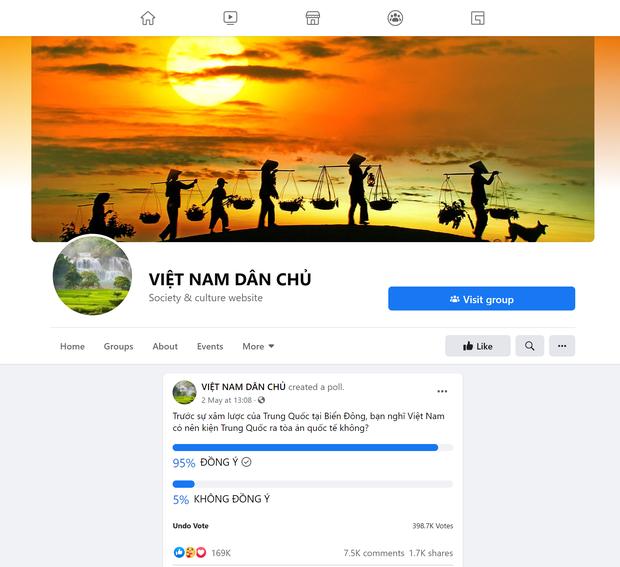 Trưng Cầu Dân Ý trên trang Facebook Việt Nam Dân Chủ.