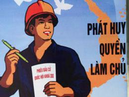 Bích chương: Phát Huy Quyền Làm Chủ, được phổ biến khắp đường phố. AFP
