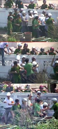 Hình ảnh các nhà báo bị đánh hội đồng. Cắt từ clip/RFA