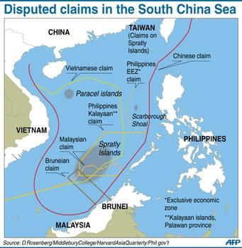 Bản đồ hình lưỡi bò do Trung Quốc tự công bố nhằm chiếm trọn biền Đông.