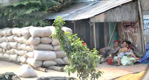 Lúa gạo chất đầy sân sau vụ Đông Xuân 2011. RFA