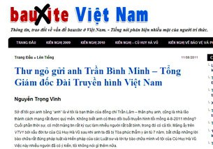 Thơ ngỏ của Tướng Nguyễn Trọng Vĩnh đăng trên trang mạng boxitvn.net