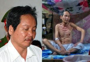 Thầy giáo bất đồng chính kiến Đinh Đăng Định lúc mới bị bắt tháng 8, 2012 (trái) và lúc được đặc xá trở về tháng 3, 2014 (phải)