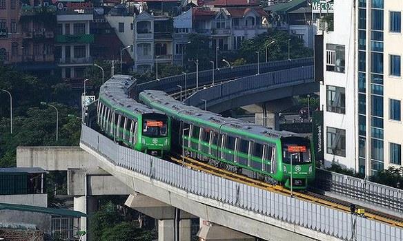 Một góc đường sắt trên cao Cát Linh - Hà Đông.