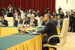 Tổng thống Hoa Kỳ Barack Obama tại Hội nghị Thượng đỉnh ASEAN hôm 19-11-2012 ở Campuchia. RFA photo/Quốc Việt.