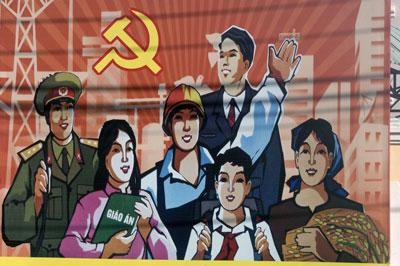 Những pano tuyên truyền cho đảng cộng sản ở Việt Nam.