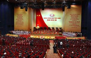 Lễ khai mạc Đại hội lần thứ 11 của Đảng Cộng sản Việt Nam (ĐCSVN) tại Hà Nội ngày 12 tháng 1 năm 2011.  AFP PHOTO / HOANG DINH Nam.