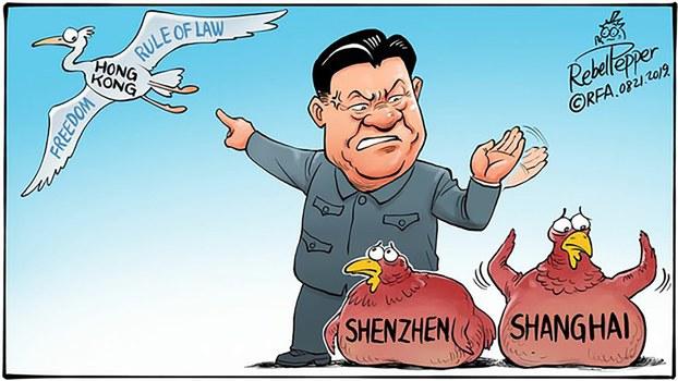 Hình minh họa. Tranh biếm họa về Chủ tịch Trung Quốc Tập Cận Bình và tự do cho Hong Kong và Tân Cương