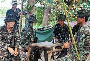 Một đơn vị binh lính Thái Lan đóng quân dọc biên giới Thái - Campuchia