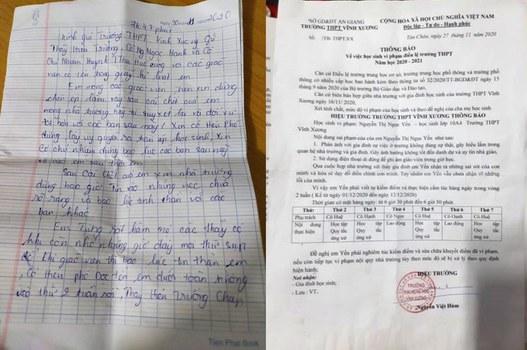 Thư tuyệt mệnh của em Y. và Thông báo của trường THPT Vĩnh Xương.