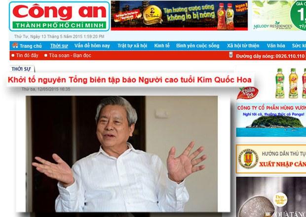 Báo Công An đưa tin khởi tố ông Kim Quốc Hoa nguyên tổng biên tập (TBT) báo Người Cao Tuổi