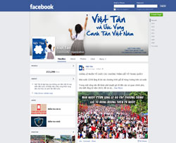 Trang Facebook của Tổ chức Việt Tân. Screen capture.