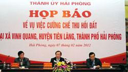 Họp báo về vụ Tiên Lãng-Source: VietnamNet