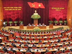 Hội nghị lần thứ 6 của Ban Chấp hành Trung ương Đảng CSVN khóa 11, diễn ra tại Hà Nội ngày 1 tháng 10 năm 2012. AFP PHOTO.