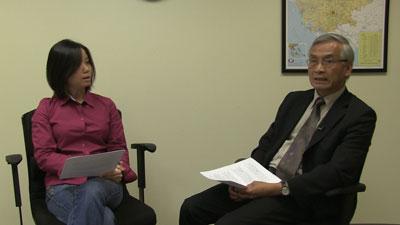 Phóng viên Cát Linh phỏng vấn Tiến sĩ Lê Duy Cấn hôm 19/6/2015. RFA photo