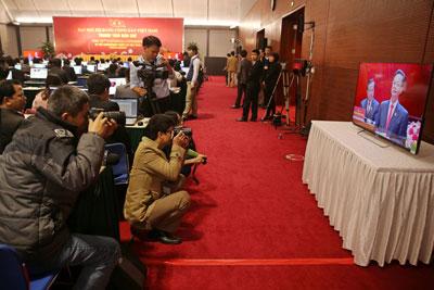 Phóng viên trong phòng báo chí tại Đại hội Đảng toàn quốc lần thứ XII tại Hà Nội vào ngày 21 tháng 1 năm 2016.