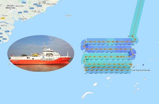 Tàu thăm dò của Trung Quốc và vị trí thăm dò hồi đầu tháng 07/19.