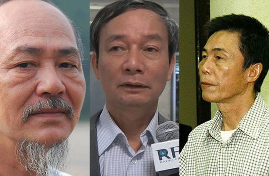 Ba nhà cầm bút bất đồng chính kiến vừa bị bắt trong tháng 4 và tháng 5/2020: Nhà văn Phạm Thành, Nhà báo Nguyễn Tường Thụy và Nhà thơ Trần Đức Thạch (bìa trái sang).
