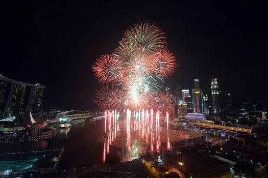 Pháo hoa ở Singapore trong ngày đầu năm 2016