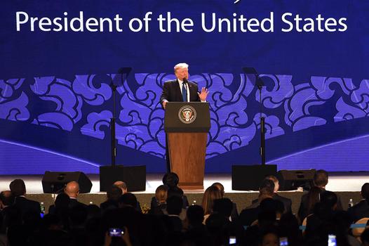 Hình minh họa. Tổng thống Mỹ Donald Trump phát biểu tại Hội nghị APEC ở Đà Nẵng hôm 10/11/2017