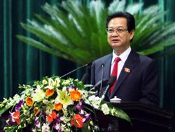 Thủ tướng Nguyễn Tấn Dũng tại kỳ họp thứ 8 Quốc hội khóa XII. Photo courtesy of chinhphu.vn