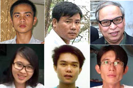(Từ trái và trên xuống) Blogger Từ Anh Tú, Trương Duy Nhất,  Phạm Viết Đào,  Phương Uyên, Đinh Nguyên Kha và Đinh Nhật Uy . File photos