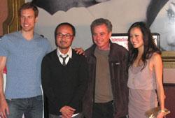 Từ trái, diễn viên John Ruby, đạo diễn Minh Đức Nguyễn, Raoul Rosenberg and diễn viên Porter Lynn Dương. Photo courtesy of Facebook - Touch (2011).