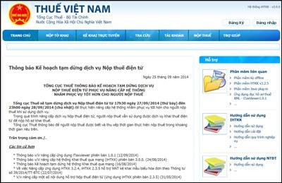 Trang web kê khai thuế doanh nghiệp trên mạng. Screen capture.
