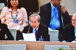 Ông Võ Văn Ái phát biểu tại kỳ họp lần thứ 22 của Hội đồng Nhân quyền LHQ tại Genève hôm 08-03-2013. Photo courtesy of Quê Mẹ.
