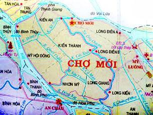 Bản đồ huyện Chợ Mới tỉnh An Giang. Source angiang.gov