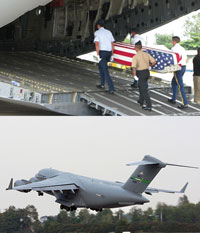 Hài cốt được cho là của binh sĩ Hoa Kỳ mất tích được chuyển lên máy bay vận tải C-17 của Mỹ để đưa về Hoa Kỳ(ảnh minh hoạ)