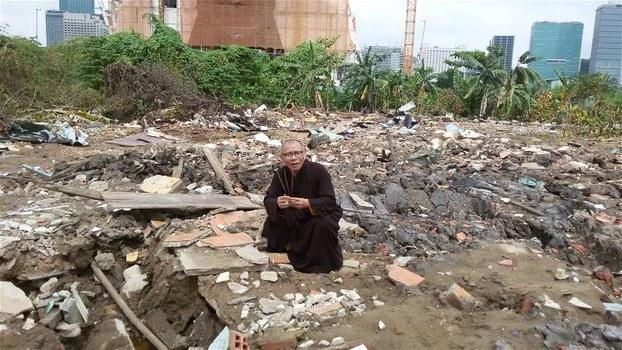 Khu vực chùa Liên Trì ở Thủ Thiêm bị san bằng năm 2016.
