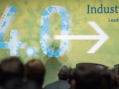 Buổi giới thiệu Industry 4.0 tại hội chợ thương mại công nghiệp Hannover Messe ở Hanover, miền trung nước Đức vào ngày 14 tháng 4 năm 2015.
