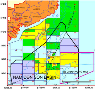Bản đồ 2: Trung Quốc áp lực BP rút khỏi dự án tại các vùng Mộc Tinh (5-03), Hải Thạch (5-02) và ký hợp đồng khảo sát với Crestone trong vùng Tư Chính - Vũng Mây. Photo courtesy of seasfoundation.org