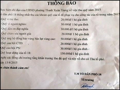 Ảnh minh họa: Danh sách các quỹ mà người dân tại một địa phương ở Hà Nội phải đóng trước đây.