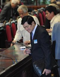 Ông Trương Tấn Sang tại kỳ họp Quốc Hội ở Hà Nội hôm 20/5/2010. AFP photo
