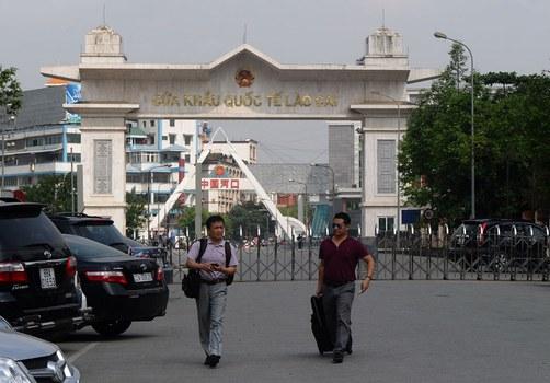 Một cửa khẩu biên giới Lào Cai giữa Việt Nam và Trung Quốc.