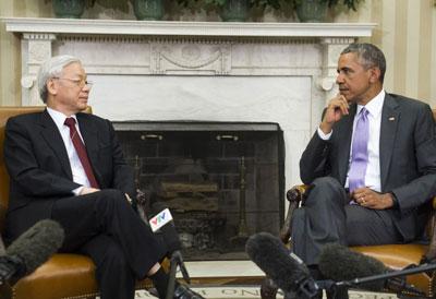 Tổng bí thư ĐCSVN Nguyễn Phú Trọng và Tổng thống Mỹ Barack Obama tại Nhà Trắng ở Washington, DC, ngày 07 tháng 7 năm 2015.
