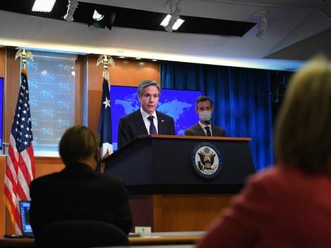 Ngoại trưởng Mỹ Antony Blinken tại buổi công bố Báo cáo thường niên về tình hình nhân quyền thế giới của Bộ Ngoại giao Mỹ hôm 30/3/2021